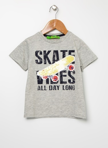 Limon Company Limon Doorboy Gri Melanj Yazı Baskılı Erkek Çocuk T-Shirt Gri